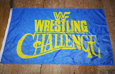WWF World Wrestling Challenge-WCW, WWF, WWE 3'x5' black Flag Banner - Wwe Banner