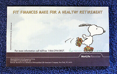 Lot Of Metlife Snoopy Post-it Notes - Fit Finances Make For A Healthy Retirement