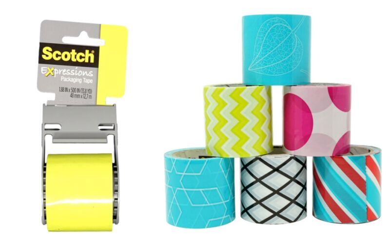 Expression Packaging Tape with Dispenser and 6 Refills (1.88 x 14 Yds Each)