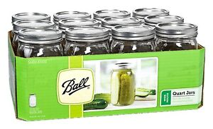 12 Pack 32 oz Quart Glass Mason Canning Jars Wide Mouth Lids Bands Wedding NEW