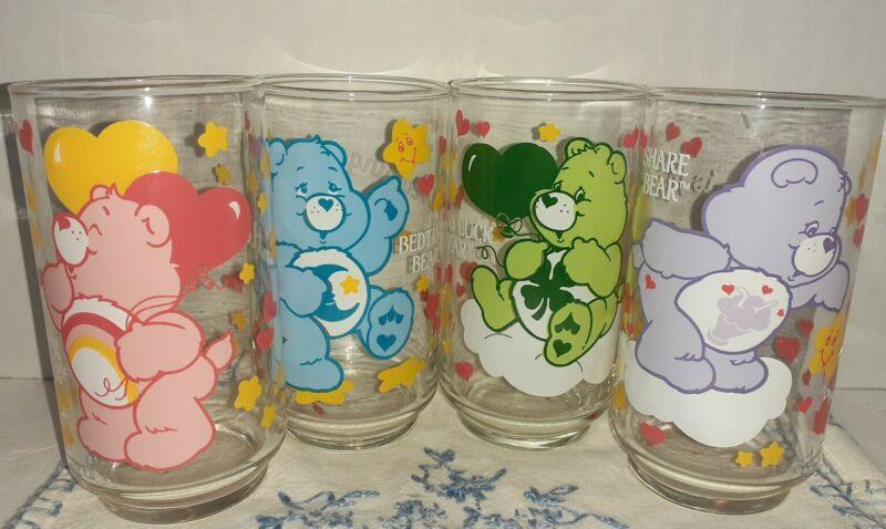 VINTAGE Set 4 Care Bears Drinking Glasses Good Luck, Share, Cheer & Bedtime 1986
