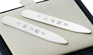 SOLID SILVER COLLAR STIFFENERS / STAYS (BNIB) SUITABLE FOR ENGRAVING By Carr's