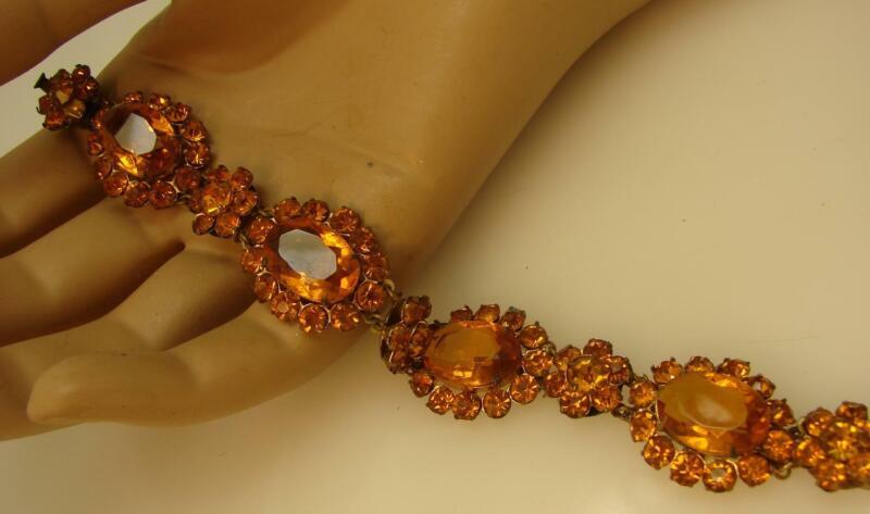 Vintage Art Deco Open Back Amber Rhinestone Bracelet