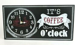 Retro Wood Wall Clock 'IT'S COFFEE O'CLOCK' Black and White w/ Red Accents