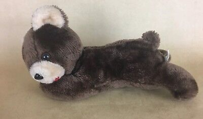 Vintage Stuffed Plush Brown Bear lying down 12 inch Standing up  - Bear Standing Up