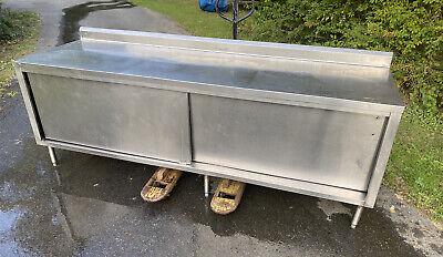 96 Stainless Steel Cabinet Work Prep Table With Doors Backsplash