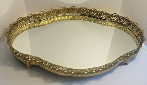 Vintage Brass Filigree Mirrored Footed Vanity Perfume Tray 16 by 11 Inches