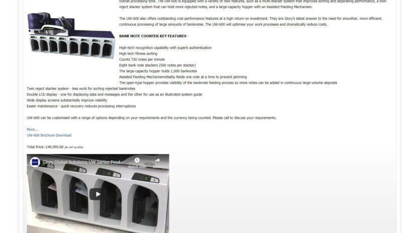 GLORY UW-600 Currency Sorter  UW Series - High-Performance Banknote Sorters