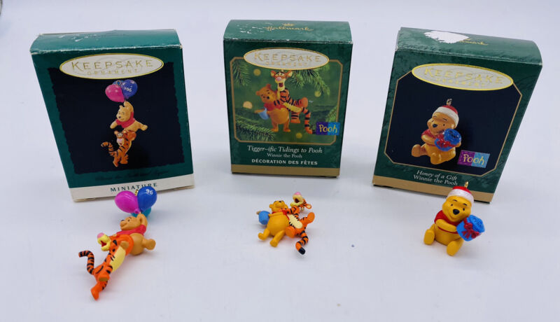 Lot 3 Hallmark Winnie the Pooh Tigger Miniature Christmas Ornaments with Boxes