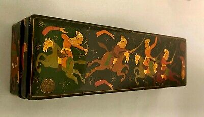 Vintage/Antique Burmese (Myanmar)hand painted Lacquered Box with Battle Scenes