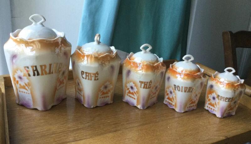 Antique French Porcelain Art Nouveau Canister Set Mint Victorian Ceramic Orange
