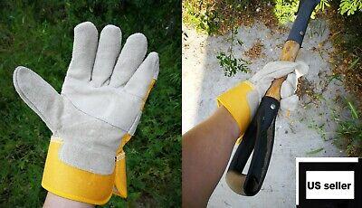 Men Woman Cowhide Split Leather Work Gloves Driver Unlined Suede Industrial Farm