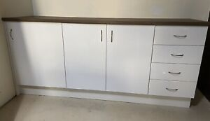 Kitchen cabinets and bench tops to make 2 x kitchenettes white gloss