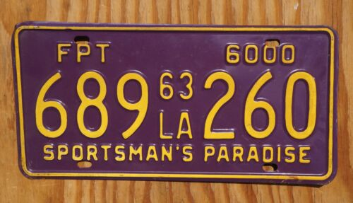 1963 Louisiana PURPLE License Plate - HIGH QUALITY