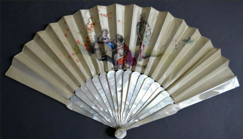 Spectacular 18C Mother of Pearl Hand Painted Rare Motif Fan
