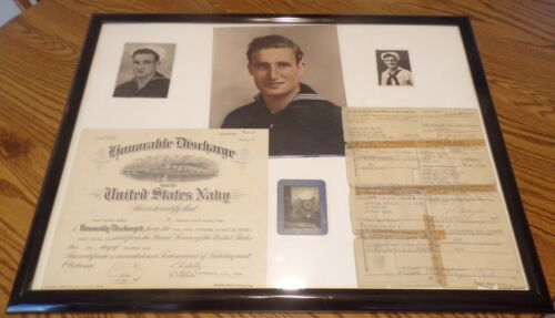 WWII UNITED STATES NAVY HONORABLE DISCHARGE SEPARATION DOCUMENTS AND PICTURES!!!
