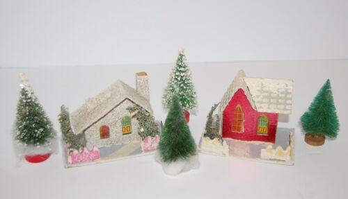 Vintage PUTZ Houses Trees Christmas Village Cardboard Paper Glitter JAPAN 1930s