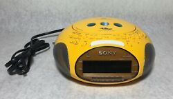 Sony Dream Machine PSYC Clock Alarm Radio / CD Player ICF-CD831 Yellow Tested
