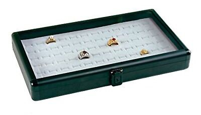Black Aluminum Ring Case Box Display With White Insert New Storage