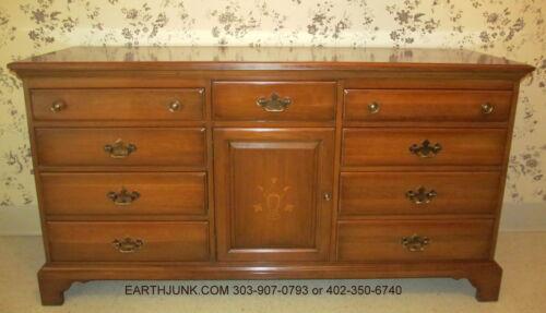 Davis Cabinet Company Triple Dresser Stenciled Doors Burnished Solid Cherry 627