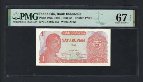 Indonesia One Rupiah 1968 P102a Uncirculated Graded 67
