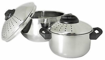 4 Pc Stainless Steel Pasta Cooker Set 6 Qt and 2 Qt Pots Locking Strainer Lids