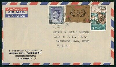 Mayfairstamps Ceylon 1960s Colombo Ghana High Commission to US Airmail cover wwo