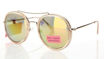 Betsey Johnson 161627 Women's Rose Gold Retro Tinted Round Sunglasses (Rose Tinted Round Sunglasses)