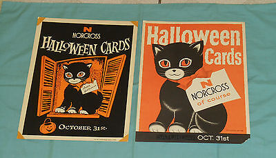 vintage original NORCROSS greeting cards HALLOWEEN ADVERTISING SIGNS black cat