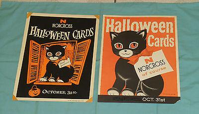 vintage original NORCROSS greeting cards HALLOWEEN ADVERTISING SIGNS black cat