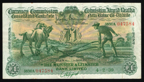 Currency Commission Ireland Ploughman £1 Munster and Leinster Bank, 1939 Nice VF