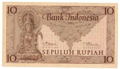 Indonesia  ... P-43b ... 10 Rupiah ... 1952  ...  Gem *UNC*.