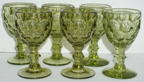 "Vintage Set 6 Imperial Glass Provincial Thumbprint Green Wine Glasses 4.5""H EUC"