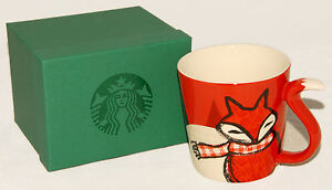 STARBUCKS - HOLIDAY 2016 - Red FOX Tail Handle Mug  12 oz LARGE Hard to FIND NEW