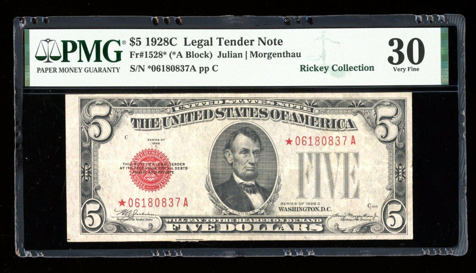 DBR 1928-C 5 Legal STAR Fr. 1528 PMG 30 Serial 06180837A - $179.95