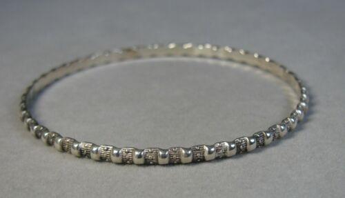 """Vintage Sterling Silver Raised Bead Design Bangle Bracelet 7 1/2"""" #J3574"""