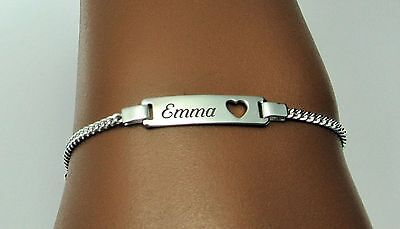 PERSONALIZED STERLING SILVER BABY HEART ID BRACELET CUSTOM ENGRAVED