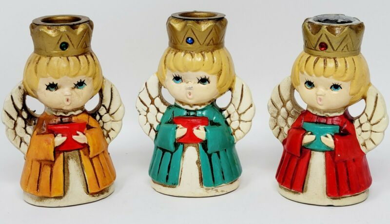 Vintage Set Of 3 Homco Christmas Angel Choir Candle Holders #5256 Retro