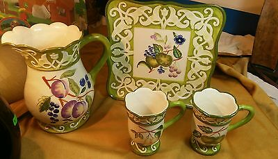 4 pc Set Apple Martini Pattern by Leslie Sattler J. Willfred Charles Sadek  for sale  Twin Lake