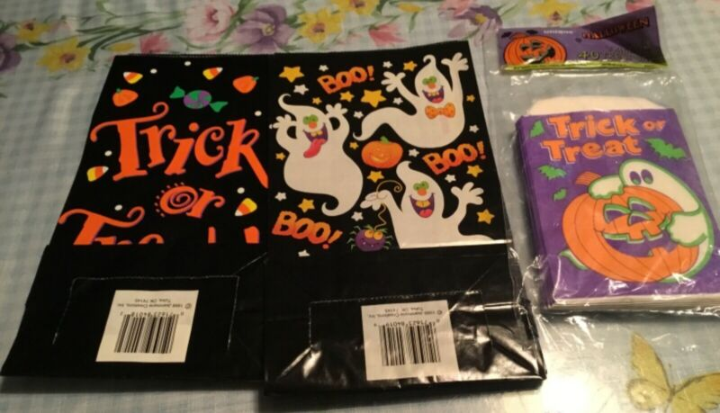 Vintage 1999 Jeanmarie Ghosts Candy Paper Halloween Trick Treat Bags USA 48 Pcs