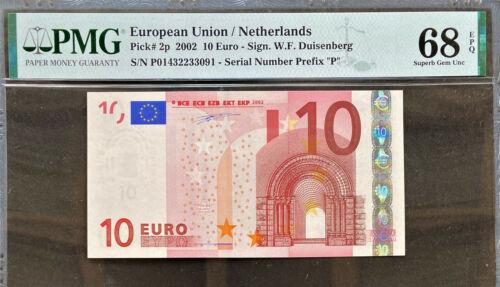 NETHERLANDS (P) 10 Euro 2002 DUISENBERG P-2p SUPERB GEM UNC PMG 68 EPQ TOP GRADE