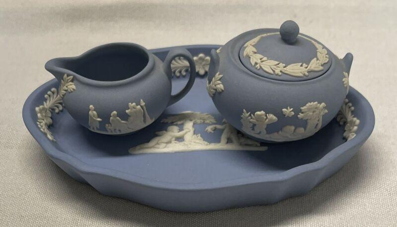Vintage Wedgwood Blue Jasperware Child Mini Tray,Sugar,Creamer
