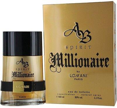 AB Spirit Millionaire by Lomani Eau De Toilette Men's Spray Cologne 3.3 oz