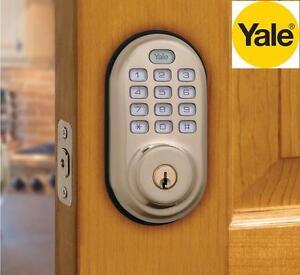 NEW YALE ELECTRONIC DEADBOLT LOCK Electronic Push Button Deadbolt, Fully Motorized - DOOR HARDWARE Satin Nickel