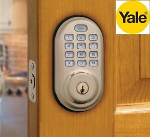 NEW YALE ELECTRONIC DEADBOLT LOCK Electronic Push Button Deadbolt, Fully Motorized - DOOR HARDWARE Satin Nickel