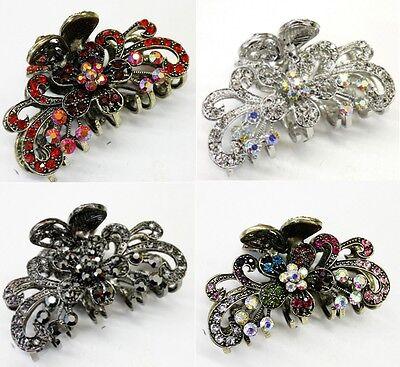 Hot Wholesale 4 pieces elegant rhinestone flower hair accessory claw clip pins