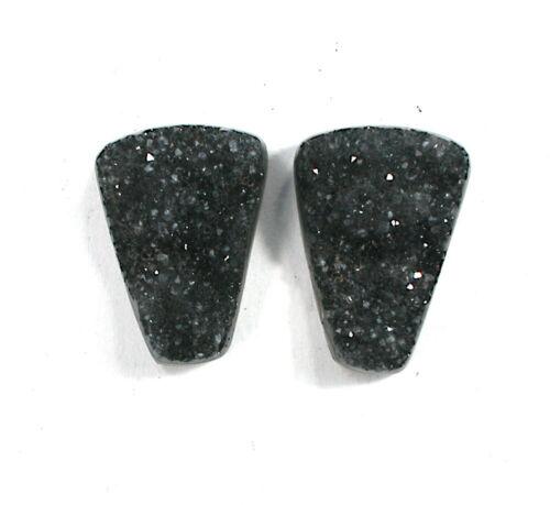 DVH Matched Pair Black Druzy Quartz Cabochon Drusy Cab 20x15x6 (2631)