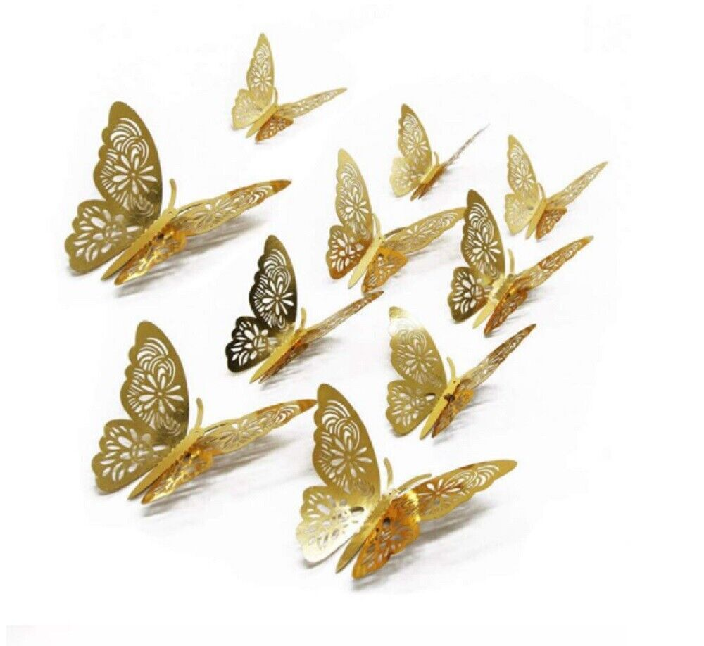 12pcs 3D Butterfly Wall Stickers Art Decals Home Room Decorations Decor US Decals, Stickers & Vinyl Art