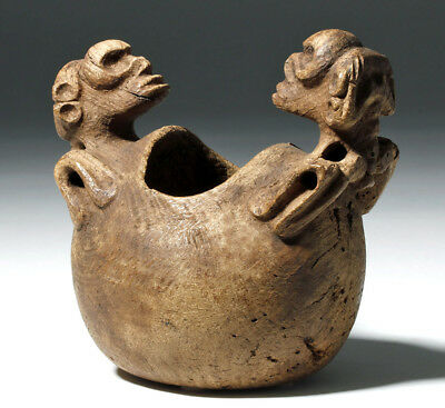 ARTEMIS GALLERY Ancient Taino Wood Bowl w/ Zemi Figures