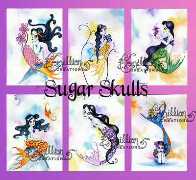 SUGAR SKULL MERMAID NOTE CARDS from Original Watercolors by Grimshaw Halloween